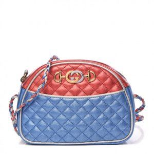 GUCCI Laminated Calfskin Quilted Mini Bag Red Blue